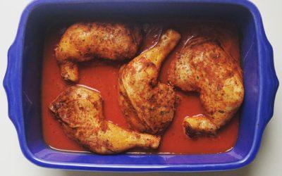 Cuisses de poulet rôties à la tomate