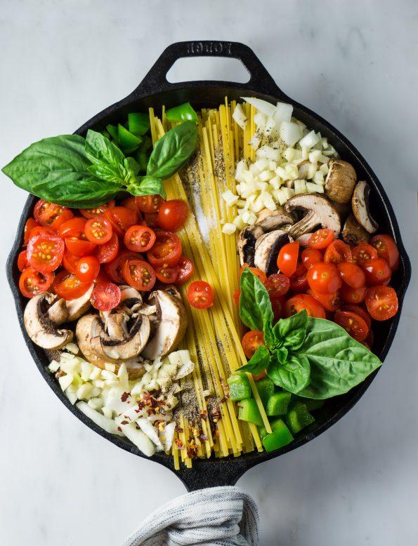 pâtes carbo aux légumes