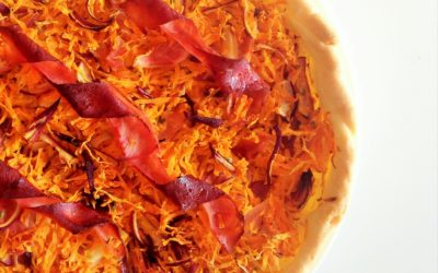 Tarte carotte, jambon et oignon
